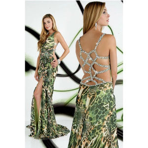 NWT Xcite Chiffon Green Leopard Dress
